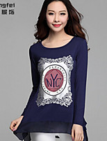 Women's Print Blue/White/Black Blouse , Round Neck Long Sleeve