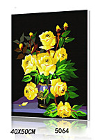 DIY Digital Oil Painting With Solid Wooden Frame Family Fun Painting All By Myself      Yellow Rose 5064