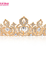 Neoglory Women Gold Tiara Crown with Clear Austrian Crystal Imitated Pearl for Lady Bridal Pageant Wedding