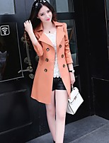 Women's Solid Black/Green/Yellow/Beige Trench Coat , Casual/Work Long Sleeve Cotton/Microfiber