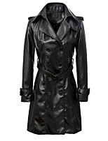 Women's Going out / Casual/Daily / Work Vintage / Street chic / Punk & Gothic Fur Coat,Solid Notch Lapel Long Sleeve Winter Black PU