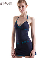 Women's Halter Multi-pieces , Solid/Bandage Wireless Polyester Blue