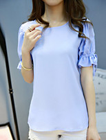 Women's Casual Inelastic Short Sleeve Regular T-shirt (Chiffon)
