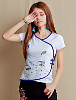 Women's White/Black T-shirt , V Neck Short Sleeve Button/Embroidery