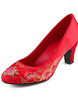 Women's Shoes Silk/Faux Chunky Heel Round Toe/Closed Toe Pumps/Heels Wedding Red