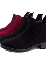 Zapatos de mujer - Tacón Robusto - Botas Anfibias - Botas - Casual - Cuero Sintético - Negro / Bermellón