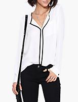 Women's V Neck Shirt , Linen Long Sleeve