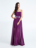 Floor-length Chiffon Bridesmaid Dress - Grape Plus Sizes / Petite Sheath/Column Strapless