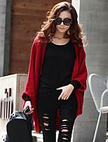 Women's Red/Black/Gray Cardigan , Casual ½ Length Sleeve