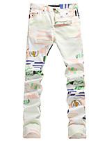 Men's Casual Slim Print Jeans Thin Denim Pant (Cotton/Denim)
