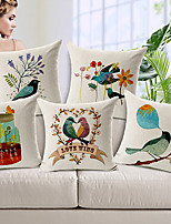 Set of 5 Country Birds Patterned Cotton/Linen Decorative Pillow Covers