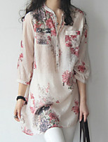 Women's Summer Fresh Floral ¾ Sleeve Long Straight T-shirt