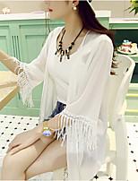 Women's White/Black/Multi-color Blouse ½ Length Sleeve Tassel