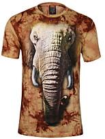 Men's 3D O-Neck Short-Sleeve Elephant Printing T-Shirt (Cotton)