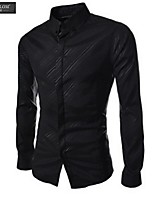 JESUNLOM®Man's Shirt Fashion Long Sleeve Pure Color Official Shirt Korean Style Bridegroom Shirt