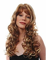 Capless Brown Long High Quality Natural Curly Synthetic Wig with Side Bang