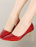 Women's Shoes Patent Leather Kitten Heel Pointed Toe Pumps/Heels Wedding/Party & Evening/Dress Black/Red/Silver