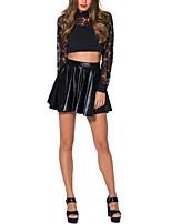 Women's Casual Micro-elastic Medium Mini Black Skirts
