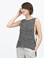 Women's Solid Gray Pullover , Casual Sleeveless