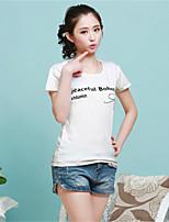 Women's Print Blue/Pink/Black T-shirt , Round Neck Short Sleeve