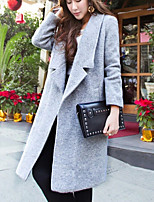Women's Casual/Party/Plus Sizes Thick Short Sleeve Long Trench Coat (Tweed/Wool)