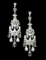 Vintage Women's Long Drop Round Earrings  Diamond  Silver Earring For Wedding Bridal
