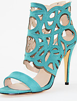 Women's Shoes Faux Suede Cone Heel Peep Toe/Gladiator/Round Toe Sandals Outdoor/Office & Career/Party & Evening Green