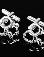 Men's Handcuffs Shackle Blk Silver Wedding Suit Shirt Men's Cufflinks