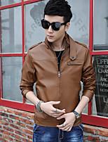SENLEIS®Men's Solid color PU Outerwear