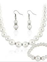 Women's Pearl/Rhinestone Jewelry Set Non Stone/Crystal
