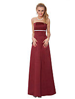 Floor-length Satin Chiffon Bridesmaid Dress -Sheath/Column Strapless