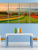 E-HOME® Stretched Canvas Art Ldyllic Scenery Decoration Painting  Set of 4
