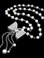 European Style Fashion Bow Imitation Pearl Pendant Necklace