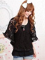 Women's Casual/Lace Inelastic Short Sleeve Regular Blouse (Lace)