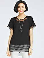 Women's Solid/Patchwork Black Blouse , Round Neck Short Sleeve Hollow Out/Mesh