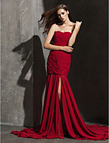 Formal Evening Dress - Burgundy Fit & Flare Strapless/Sweetheart Court Train Chiffon