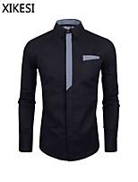 Men's Casual/Work Pure Long Sleeve Regular Shirt (Cotton Blend) XKS7A22