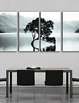 E-HOME® Stretched Canvas Art A Tree in The Lake Decoration Painting  Set of 4