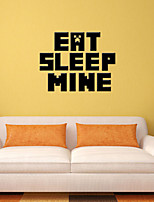 3D Wall Stickers Wall Decals Style Eat Sleep Mine English Words & Quotes PVC Wall Stickers