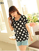 Women's Multi-color Blouse , Round Neck Short Sleeve