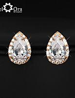 Hot Cubic Zirconia Earrings Fashion Jewelry Gold Plated Lady Stud Earrings For Women