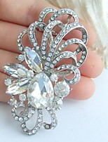 Wedding 2.56 Inch Silver-tone Clear Rhinestone Crystal Flower Bridal Brooch Pendant Wedding Deco