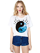 Women's Casual Print Stretchy Short Sleeve Short T-shirt (Polyester)