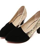 Women's Shoes Synthetic Chunky Heel Heels/Basic Pump Pumps/Heels Wedding/Office & Career Black/Red