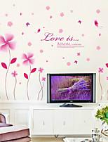 pegatinas de pared Adhesivos de pared, púrpura cuatro flores de la hoja etiqueta de la pared del pvc