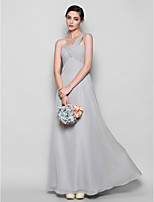 Floor-length Chiffon Bridesmaid Dress - Silver Plus Sizes / Petite Sheath/Column One Shoulder