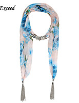 D Exceed Women's Multicolor Rose Print Scarf Chiffon Pearl Pendant Necklace Jewelry Scarves