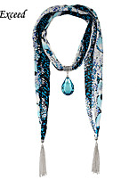 D Exceed Women's Scarves Fashion Chiffion with Blue Glass Tear Drop Pendent Jewelry Scarves with Tassels