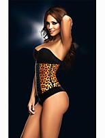 Women's Sexy Leopard Print Rubber Corset Plus Size