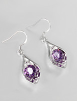 Wedding Dress 925 Silver Plated Drop Earrings for Lady with Purple Zircon